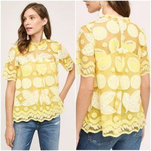 NWT Anthropologie Lily Lace Blouse Yellow